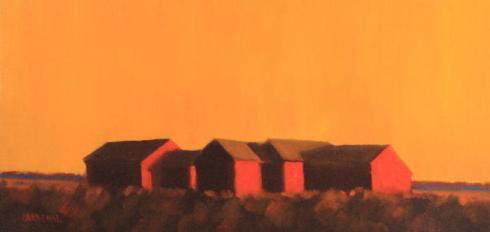 """Robert Cardinal - Beach Cottages - 10"""" x 20"""""""