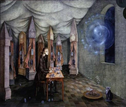remedios_varo_Revelation of the Clockmaker, 1955