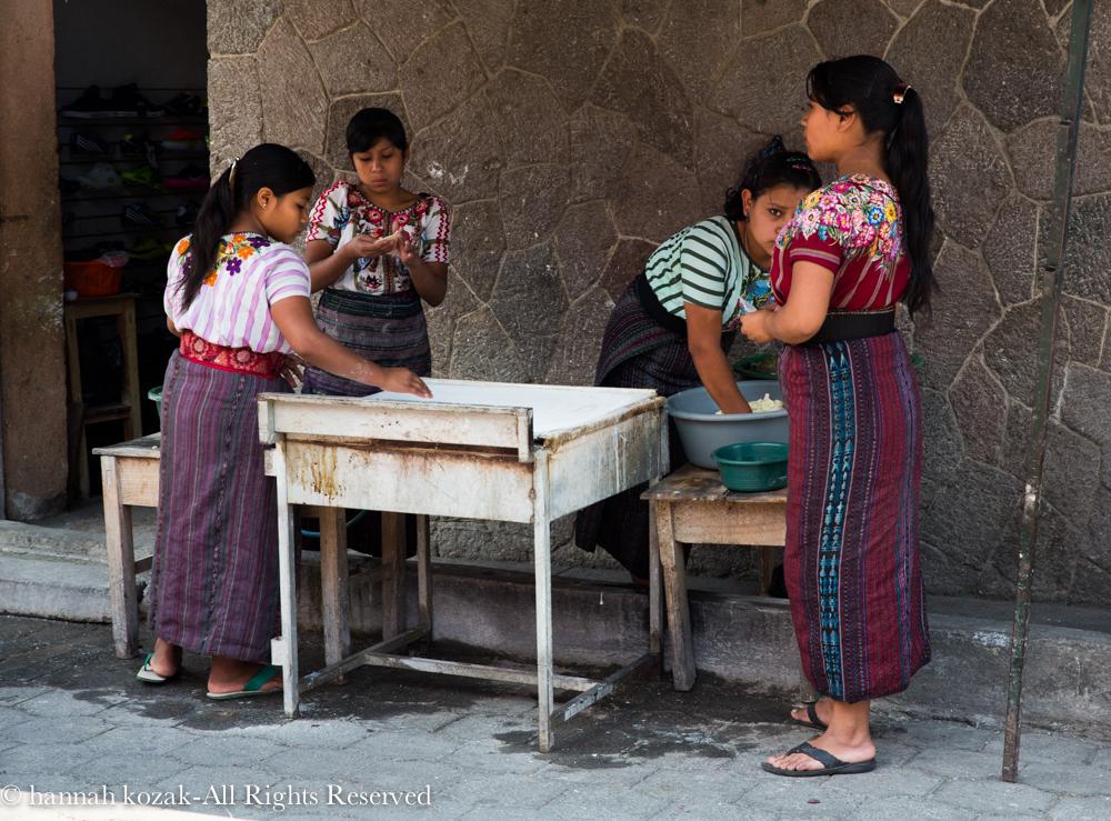 Preparing tortillas-Santiago, Lake Atitlan, Guatemala