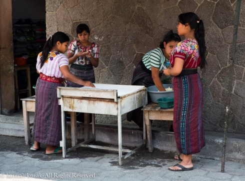 Preparing tortillas-Santiago, Lake Atitlan, Guatemala