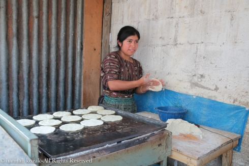 Making corn tortillas in Panajachel