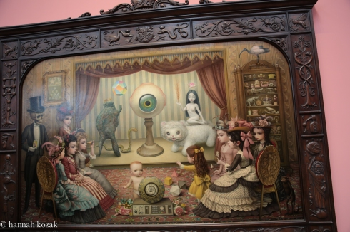 Mark Ryden, The Parlor, (Allegory of Magic, Quintessence, and Divine Mystery), 2012, Oil on canvas with artist designed frame. 98 x 120 inches