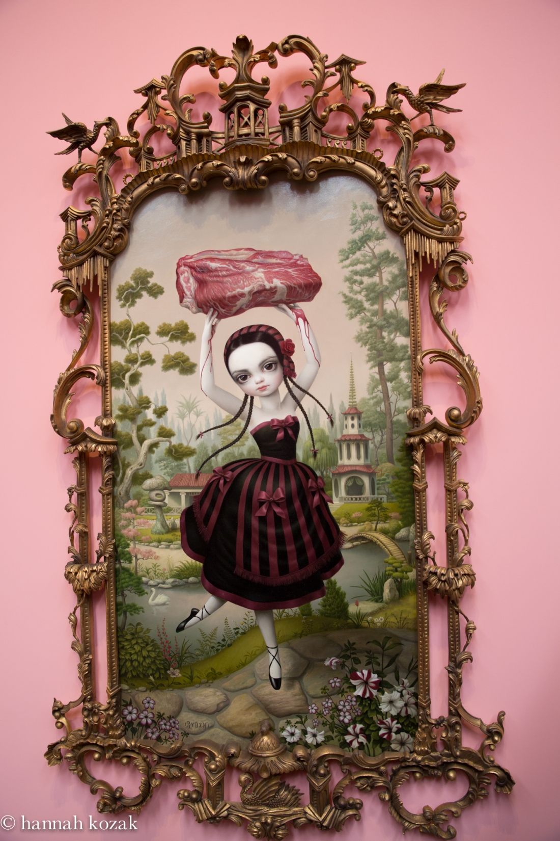 Mark Ryden, Meat Dancer, 2011, Oil on canvas with vintage frame, 75 x 50 inches.