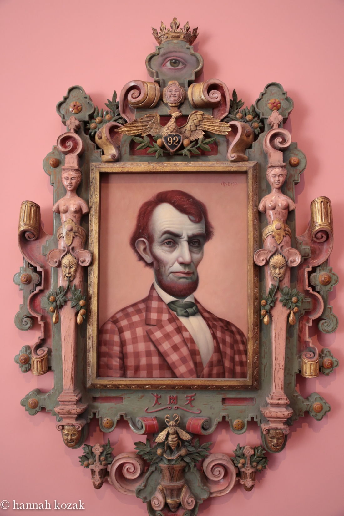 Mark Ryden, Pink Lincoln, 2010, Oil on canvas with artist-designed frame, hand-painted by the artist