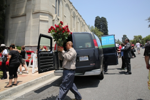 Flower delivery at Forest Lawn