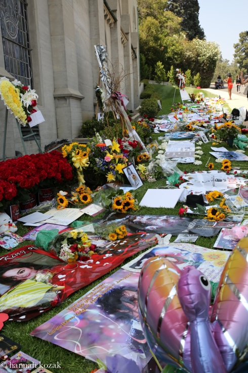Cards, flowers for MJ at Forest Lawn