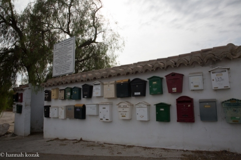 Mailboxes outside the road en route to Frigliana, Spain